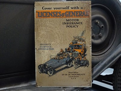 Lot 30 - Tin  Licenses and General motor insurance policy sign